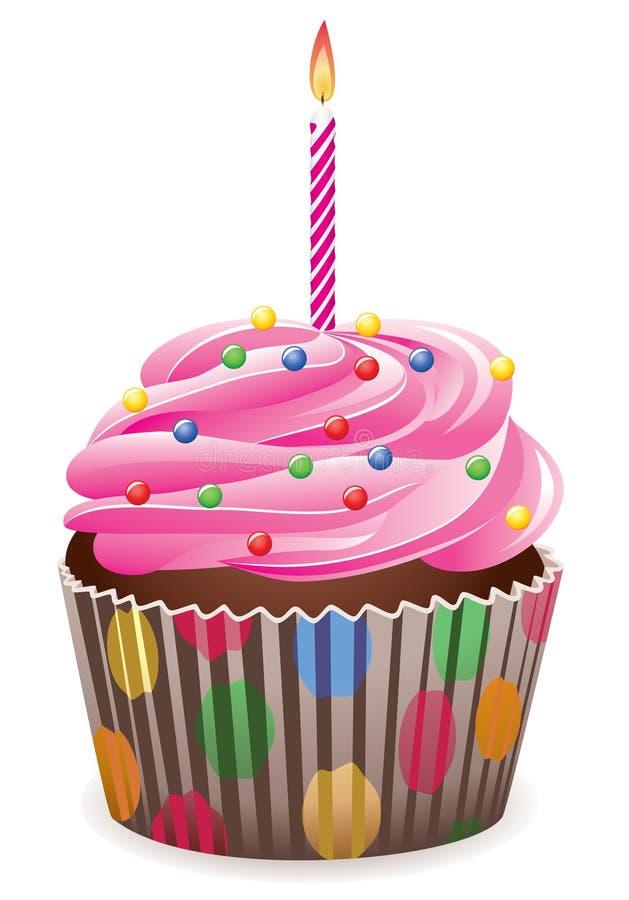 Cupcake met het branden van kaars vector illustratie
