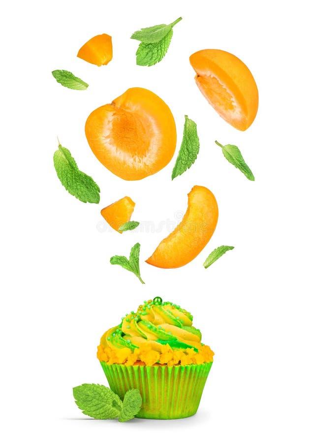 Cupcake met het vliegen stukken van abrikoos en munt stock afbeelding