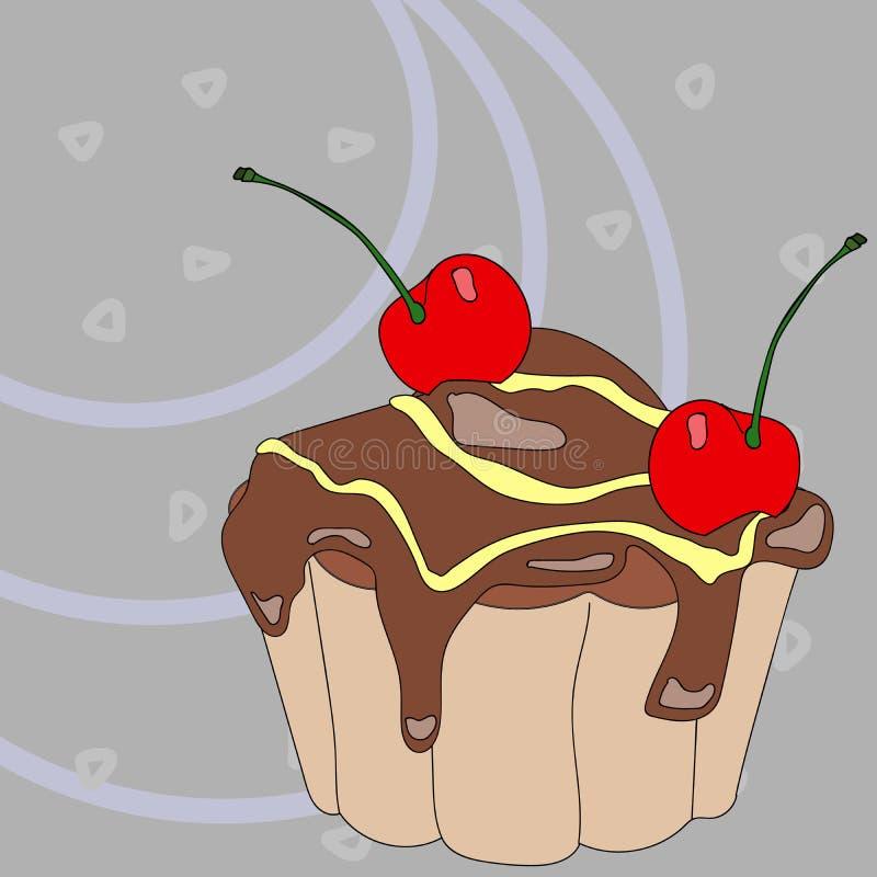 Cupcake met kleurrijk suikerglazuur en kers op een kleurrijke abstracte achtergrond vector illustratie
