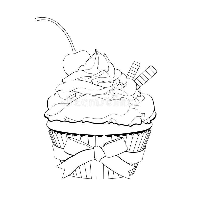 Cupcake met room, met een kers op bovenkant en wafels, vectoroverzichtsillustratie, kleuring, schets, geeft de contouren aan van  royalty-vrije illustratie
