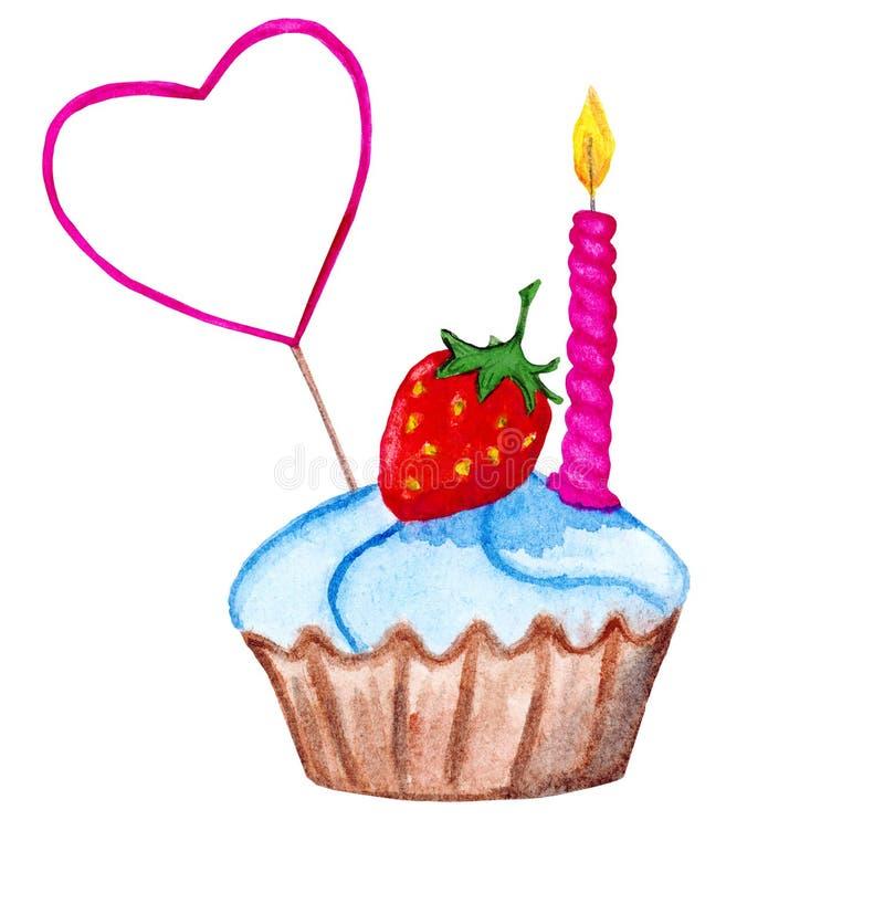 Cupcake met strawberrry, een cakeoogst en een kaars stock fotografie