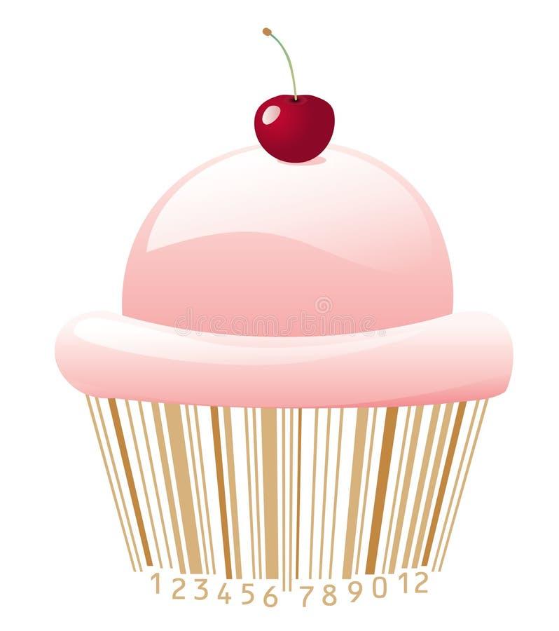 Cupcake met streepjescode stock illustratie