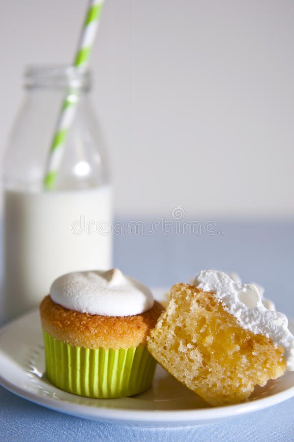 Cupcake and milk royalty free stock photography