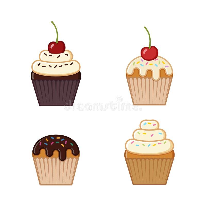 Cupcake, muffin εικονίδια επίσης corel σύρετε το διάνυσμα απεικόνισης διανυσματική απεικόνιση