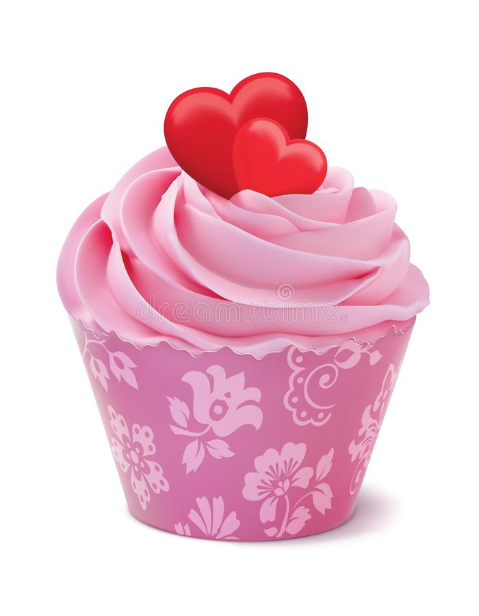 Cupcake or muffin decorated with hearts. Isolated on white realistic 3d illustration royalty free illustration