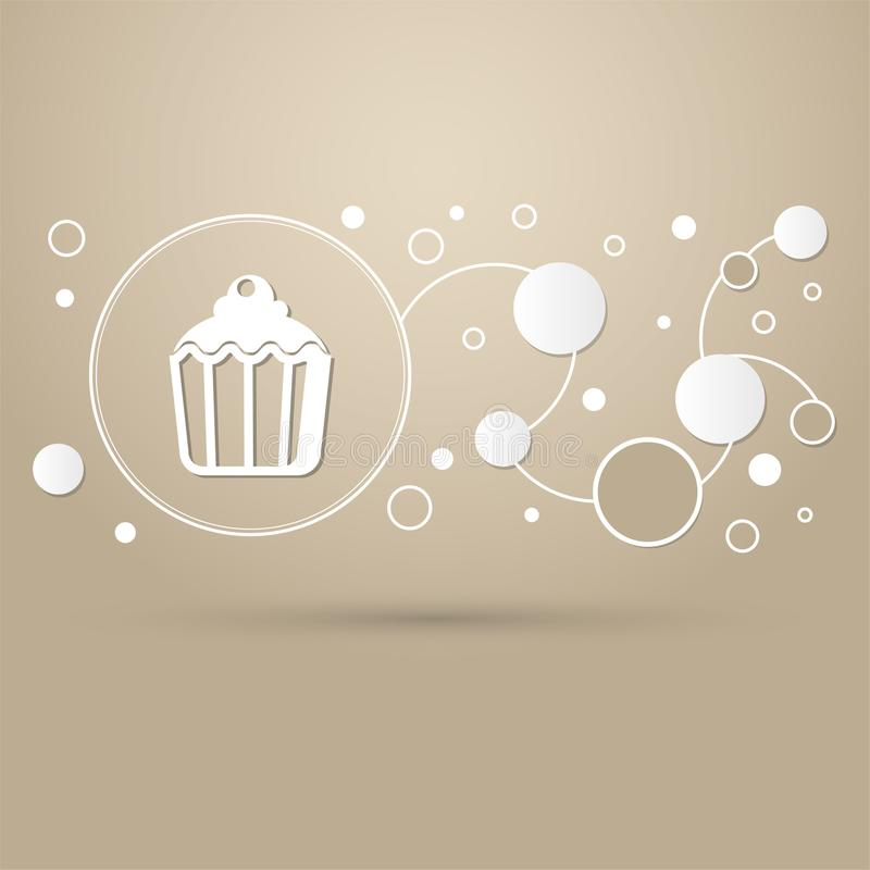 Cupcake, muffin icon on a brown background with elegant style and modern design infographic. stock illustration