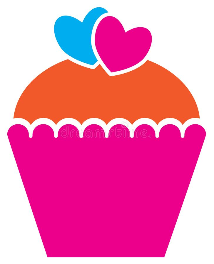 Cupcake of muffin met harten voor Valentine wordt verfraaid dat stock illustratie