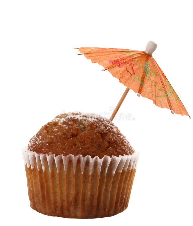 Cupcake Muffin With Red Cocktail Parasol Royalty Free Stock Photos