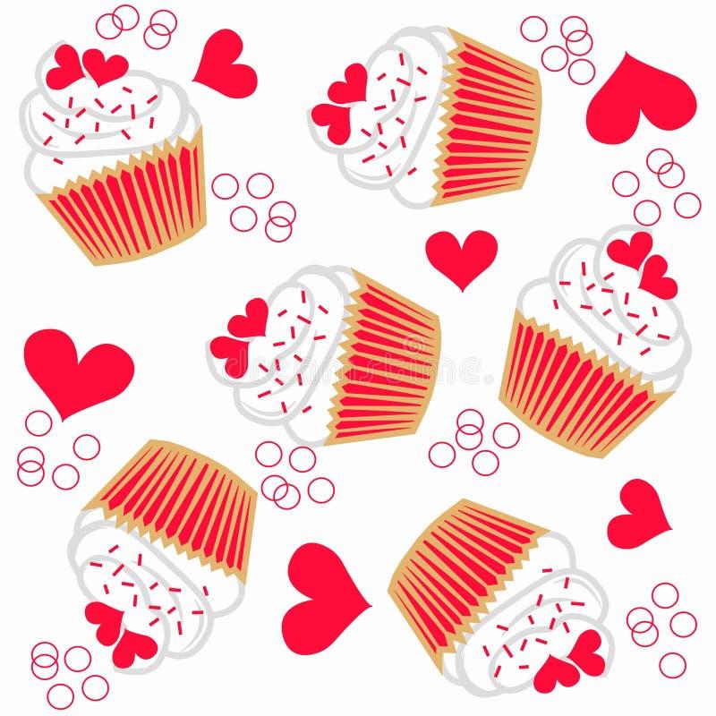 cupcake naadloos patroon royalty-vrije illustratie