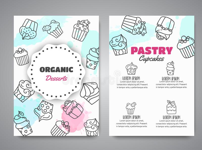 Cupcake newsletter with handdrawn cupcakes and pink splashes. Sweet pastry slogan for cafe. Bakery Desserts collection. Vector illustration stock illustration