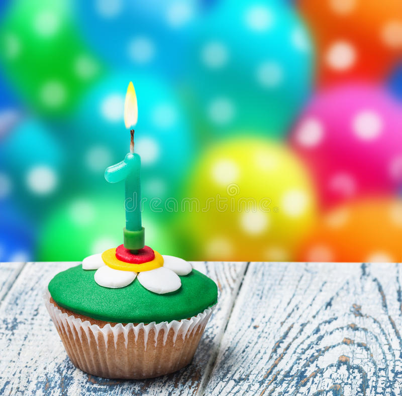 Cupcake with number one stock photos