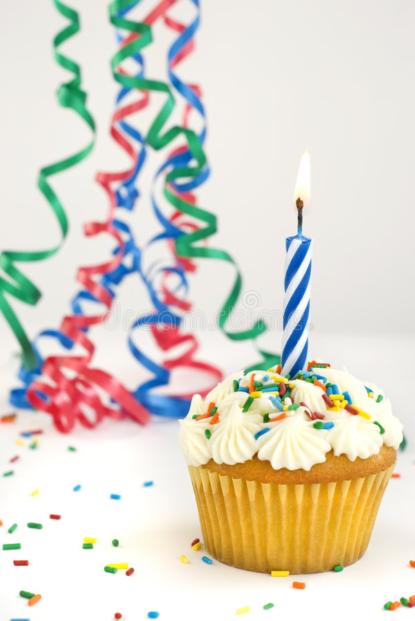 Download Cupcake With One Burning Candle Stock Image - Image of copy, anniversary: 8151333