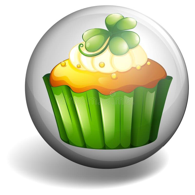 Cupcake op rond kenteken stock illustratie