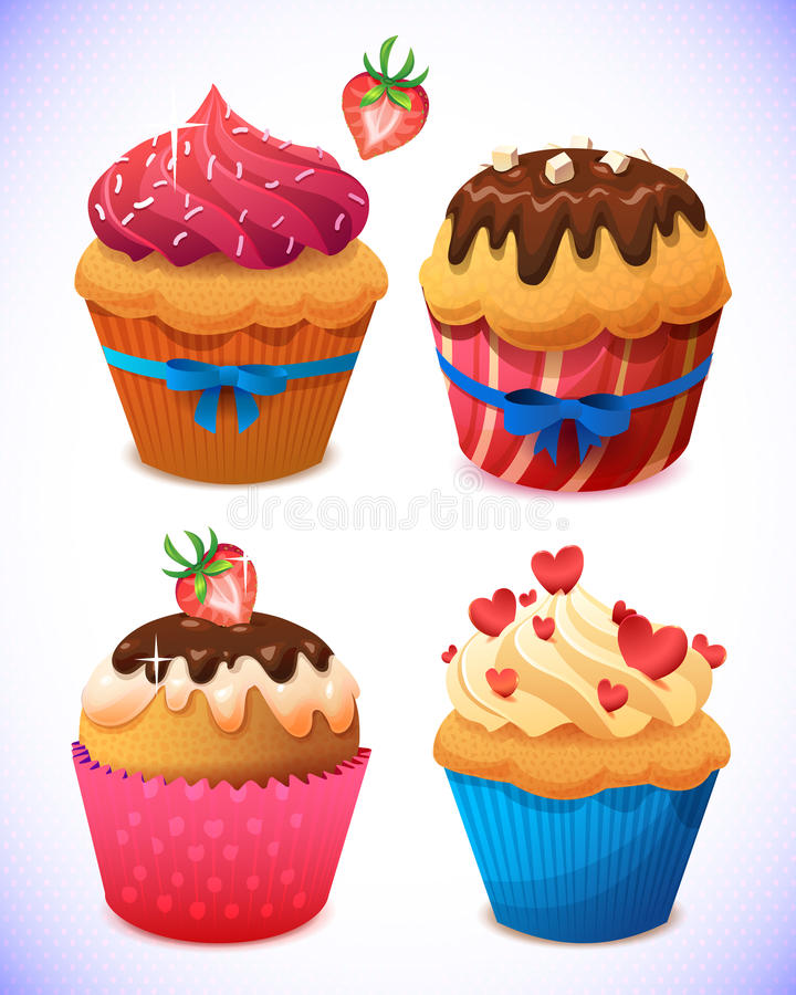 Cupcake pack. Chocolate and vanilla icing cupcakes. Strawberry, cherry and cream stock illustration