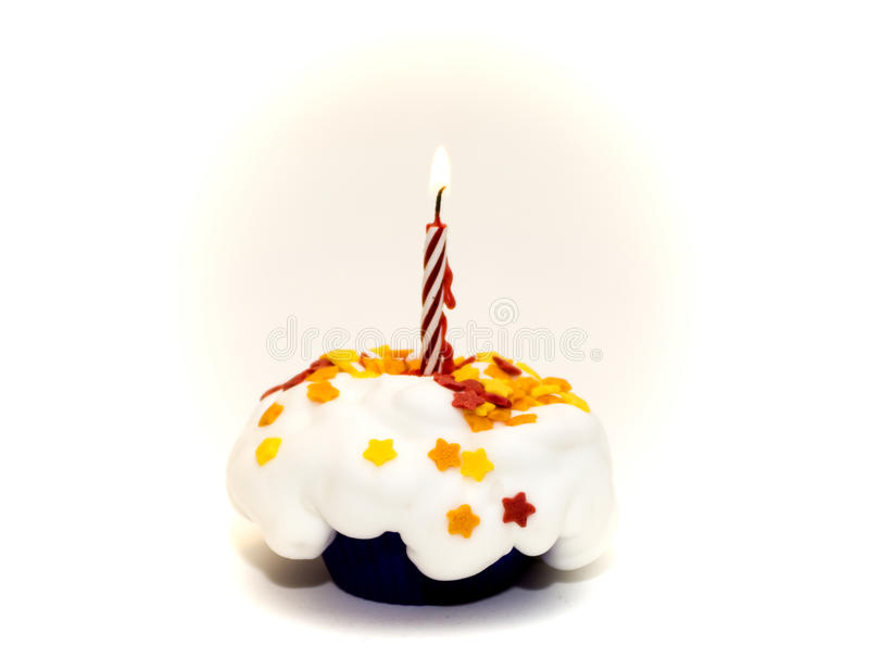 Cupcake party with a candle. Cupcake birthday or Christmas party stock photos