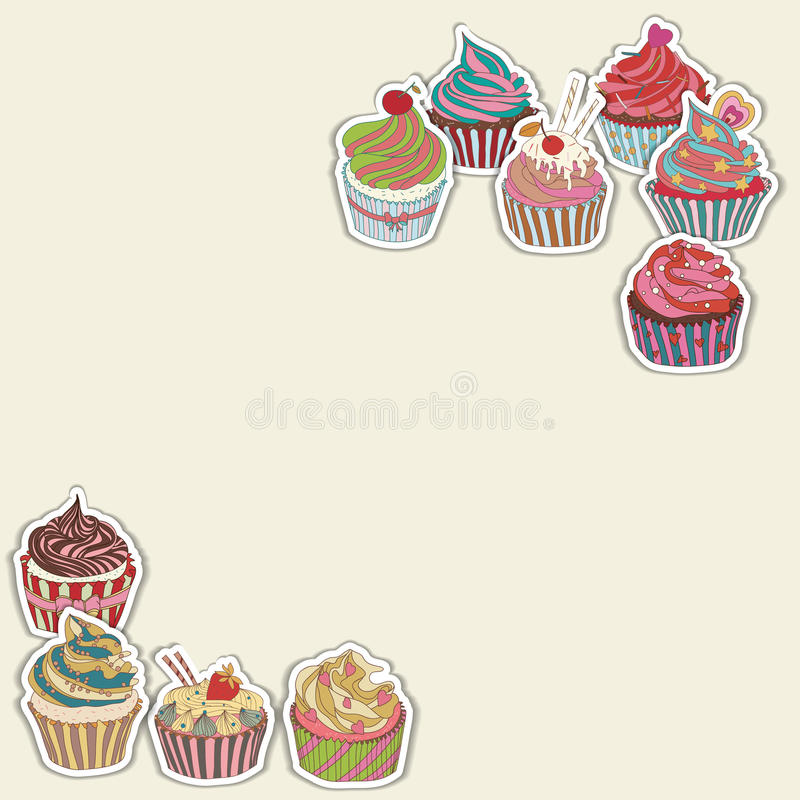 Cupcake pattern border. Seamless Sweet food texture. Use as a pattern fill vector illustration