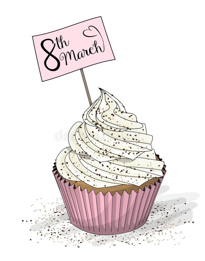 Cupcake withwhite cream and topper pick with text 8th March on white background, illustration royalty free illustration