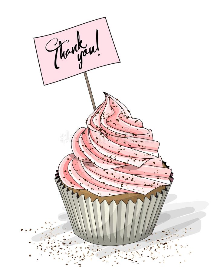 Cupcake with pink cream and topper pick with text Thank you on white background, illustration royalty free illustration