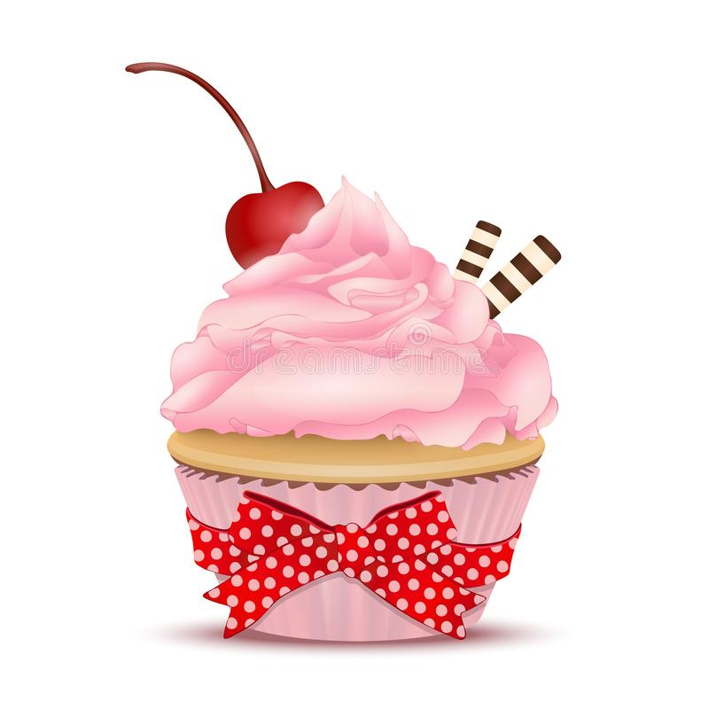 Cupcake with pink fruit cream, with a cherry on top and waffles, vector illustration. Drawing of dessert isolated on white backgro vector illustration