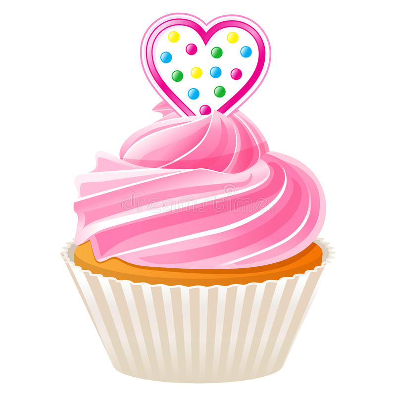 Cupcake with pink heart vector illustration