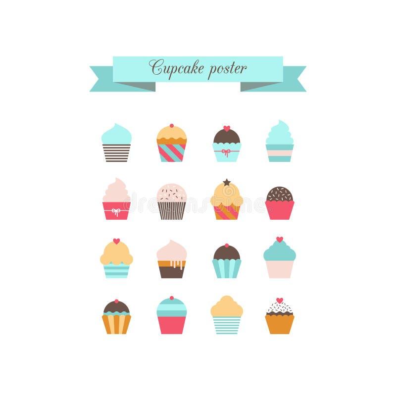 Cupcake poster. Retro style. royalty free illustration