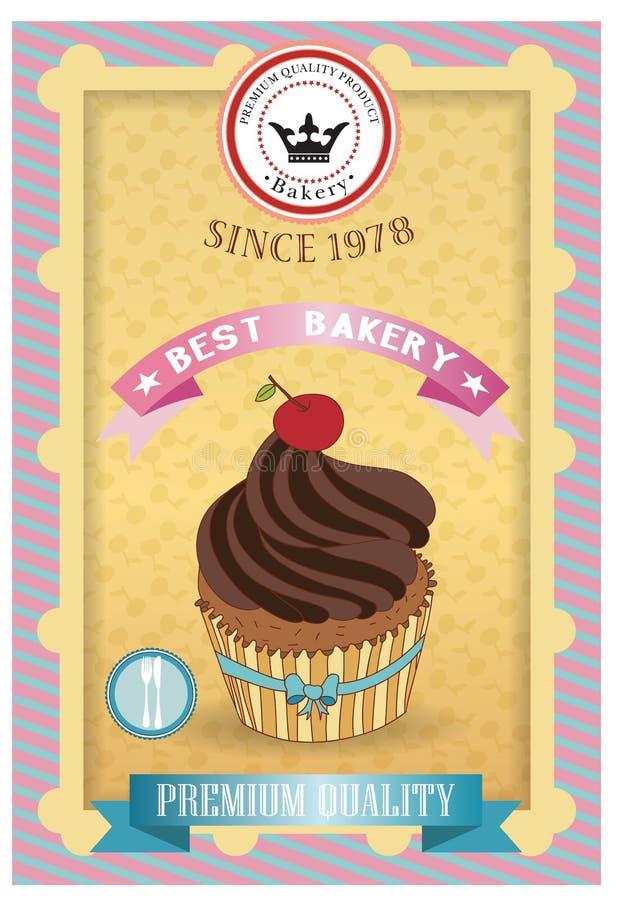 Cupcake poster. Retro Vintage design royalty free illustration
