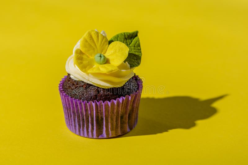 Cupcake in purple wrap on solid yellow background with strong shadow. Pop art. Trendy funky minimalist style. Cupcake in purple wrap on solid yellow background stock image