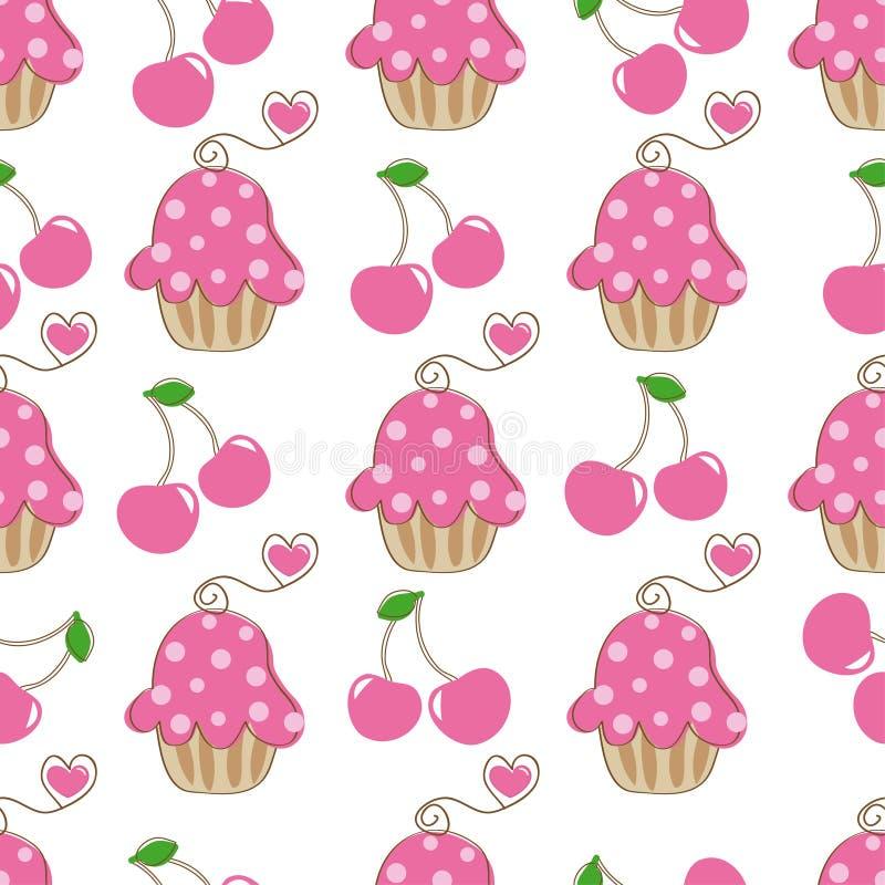Cupcake retro fabric stock illustration