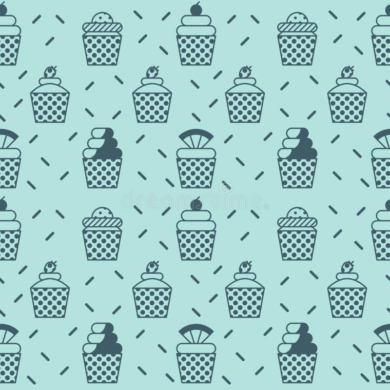 Cupcake seamless background stock illustration