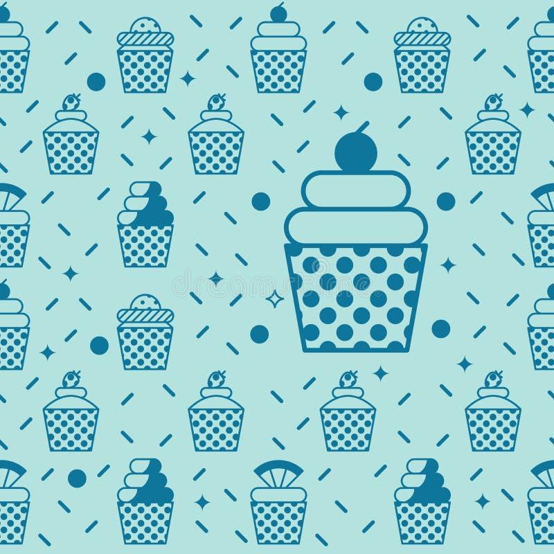 Cupcake seamless background vector illustration