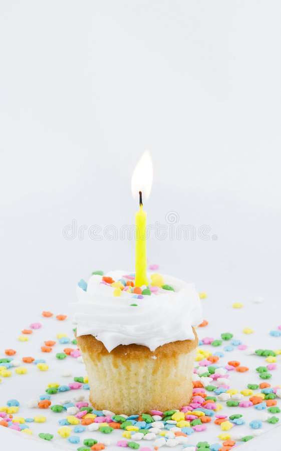 Cupcake and Single Candle royalty free stock images