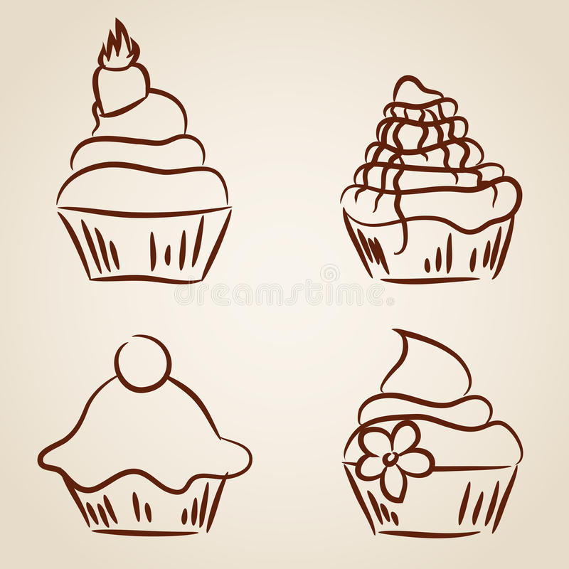 Download Cupcake sketches stock illustration. Image of decorated - 35690877