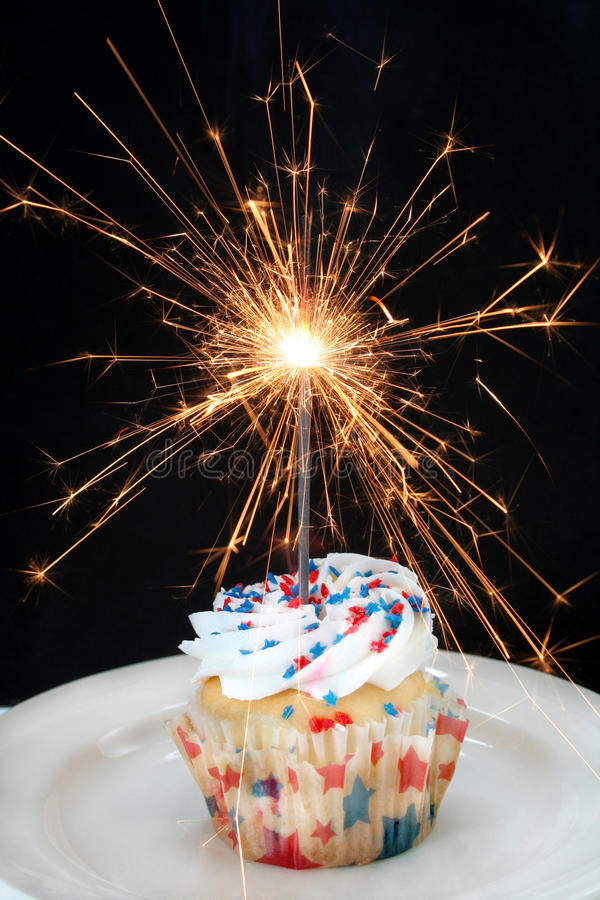 Cupcake and Sparkler stock photos