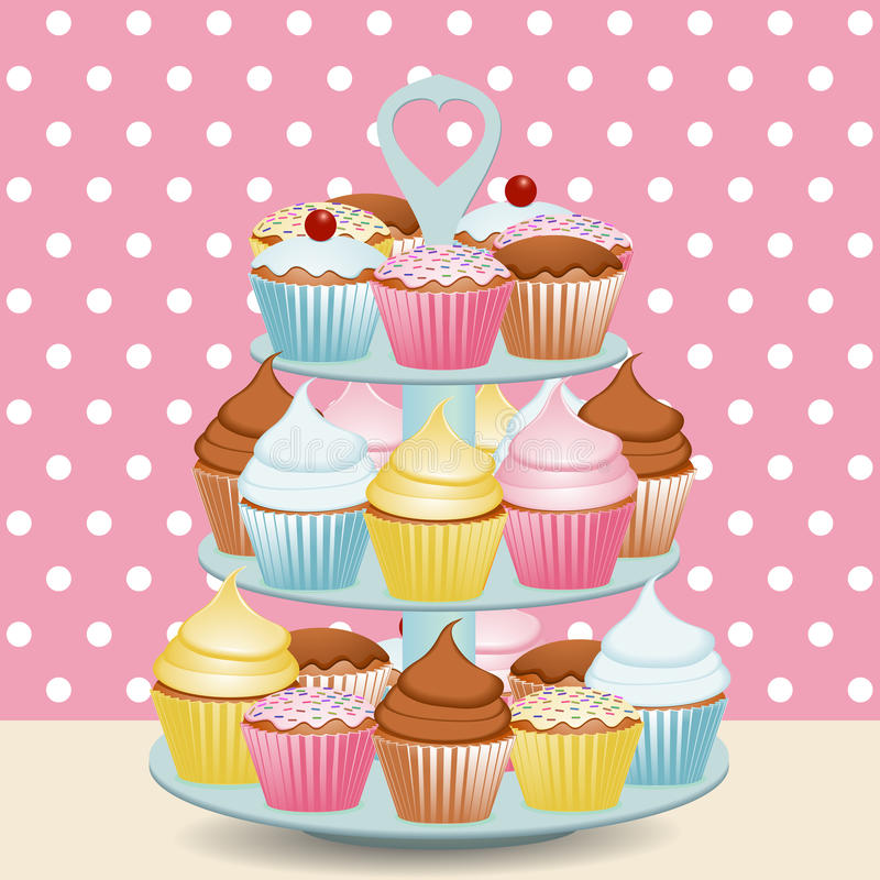 Cupcake stand royalty free illustration