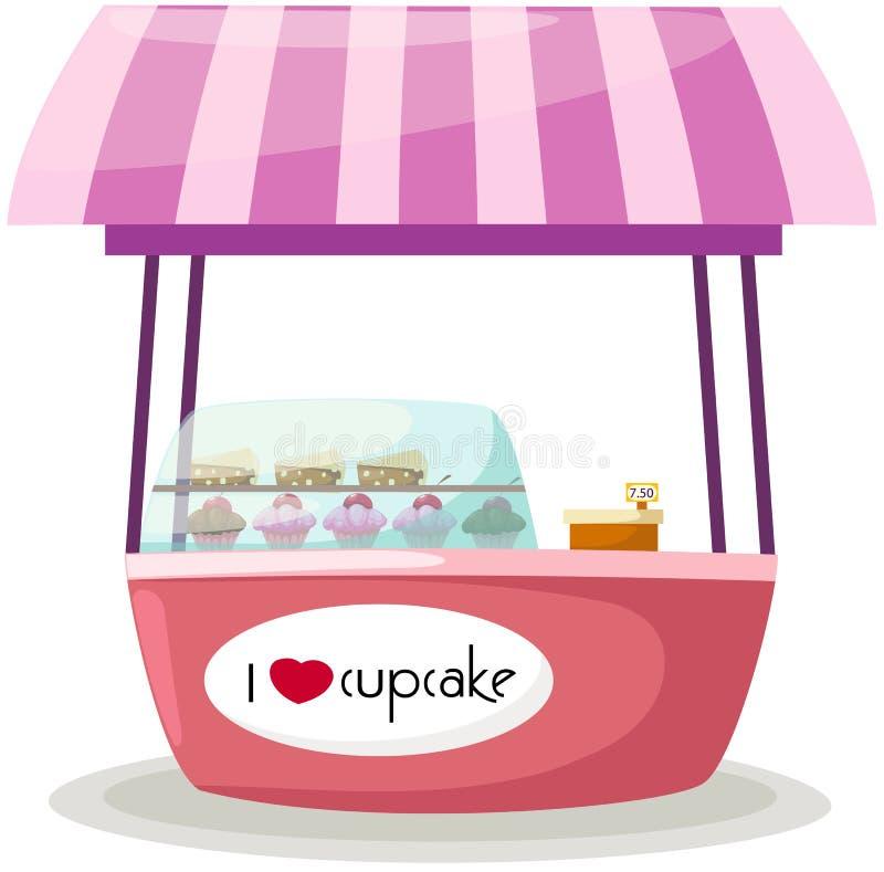 Cupcake stand shop royalty free illustration