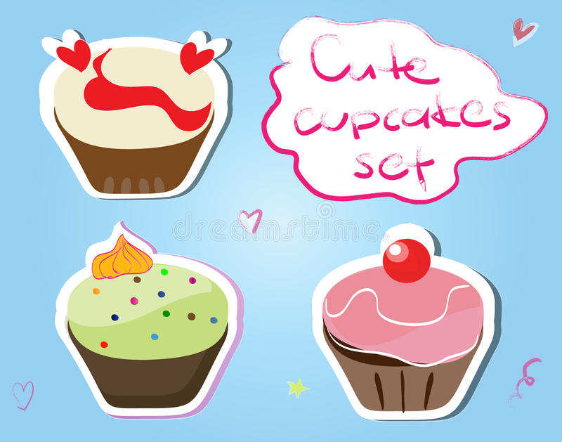 Cupcake stickers stock illustration