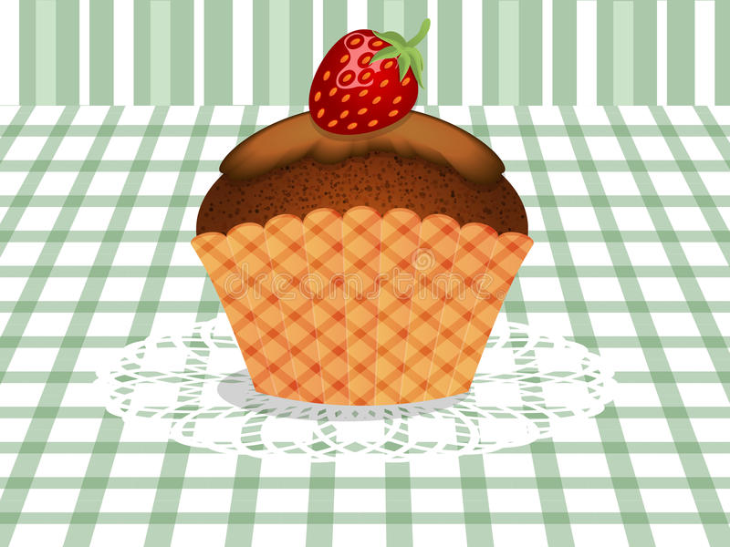 Cupcake with strawberry. Cupcakes with strawberries on the tablecloth stock illustration