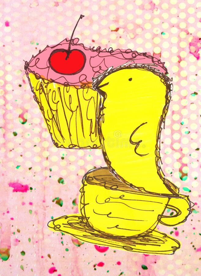 Cupcake Tea Party Bird Whimsical Nature Illustration royalty free stock photography