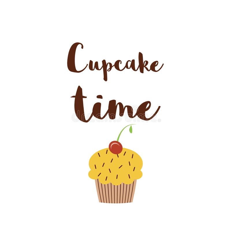 cupcake time poster cute quote isolated on white positive sayings