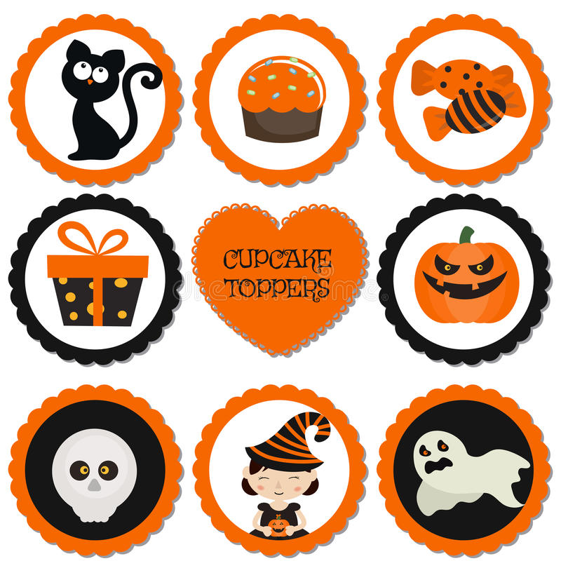 Cupcake toppers for Halloween. vector illustration