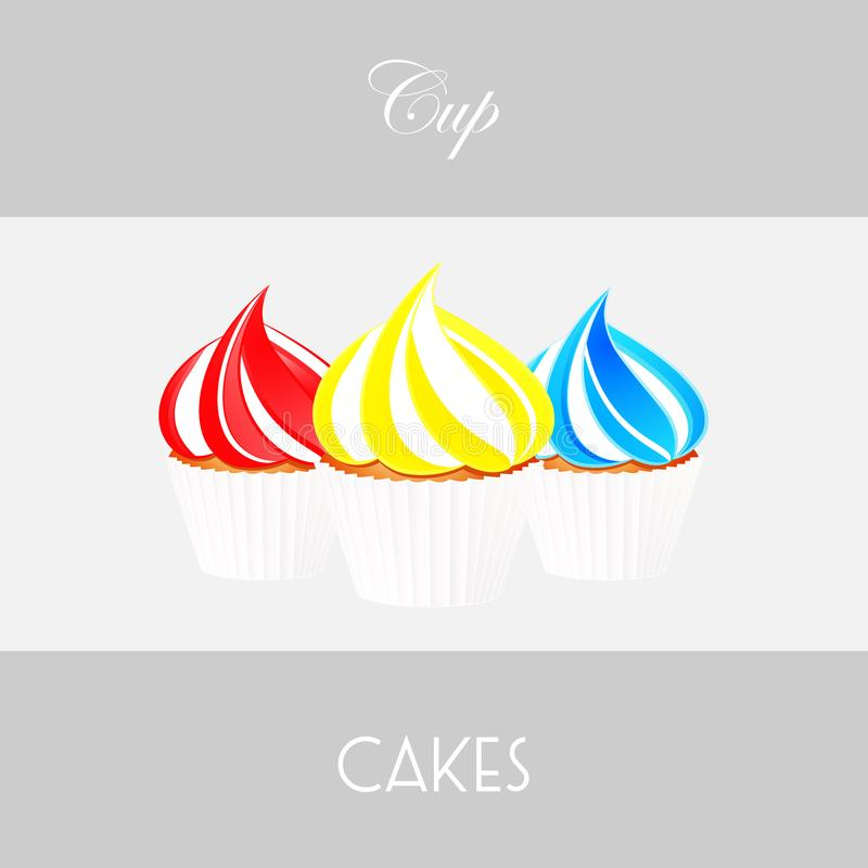 Cupcake trio background and decorative text royalty free illustration