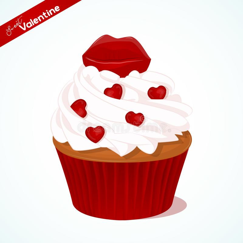 Cupcake With Vanilla Cream And Red Sugar Lips For