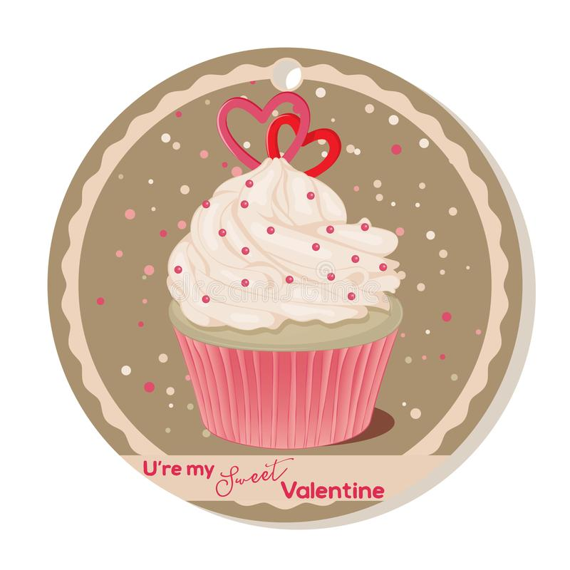 Cupcake with vanilla cream and sugar hearts for Valentines day. Greeting card, tag or sticker for Sweet Valentine royalty free illustration