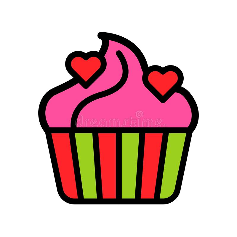 Cupcake vector illustration, filled style icon editable outline. Cupcake vector illustration, filled style icons editable outline royalty free illustration