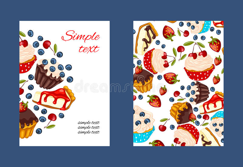 Cupcake vector promo card set royalty free stock photography