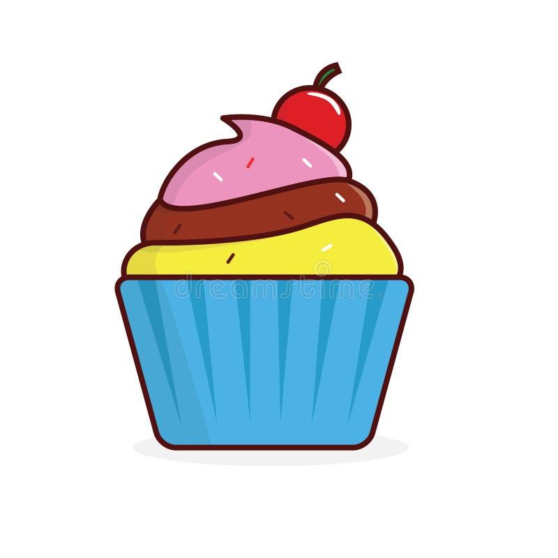 Cupcake vectordieillustratie op witte achtergrond wordt geïsoleerd stock illustratie