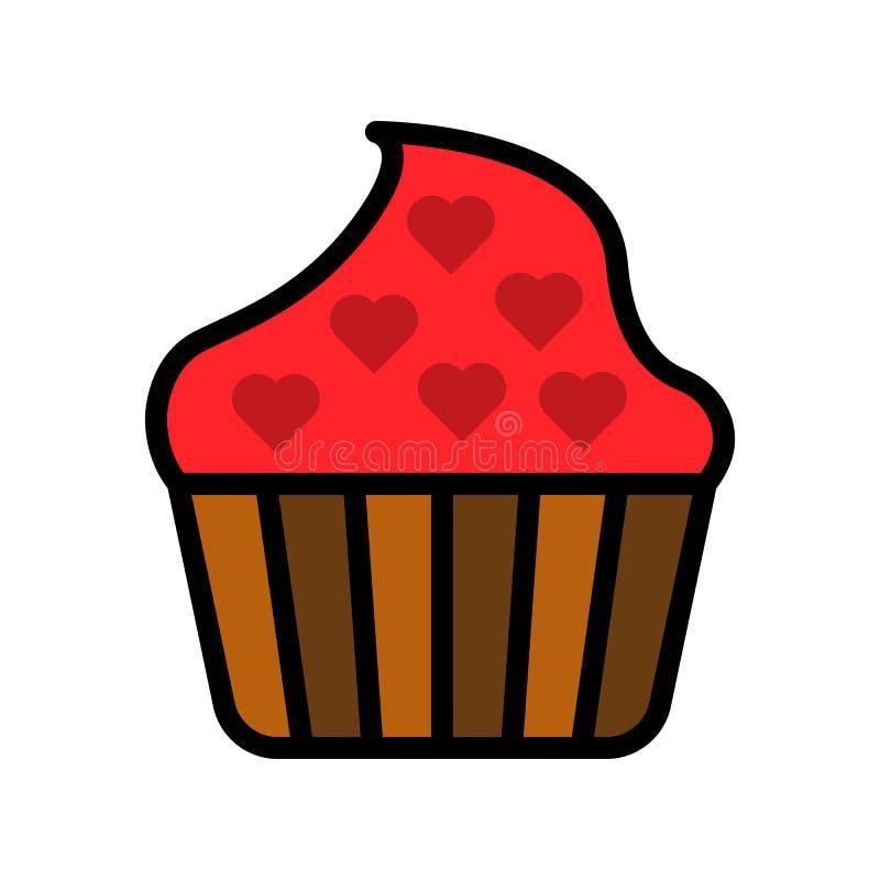 Cupcake vectorillustratie, het gevulde editable overzicht van het stijlpictogram stock illustratie