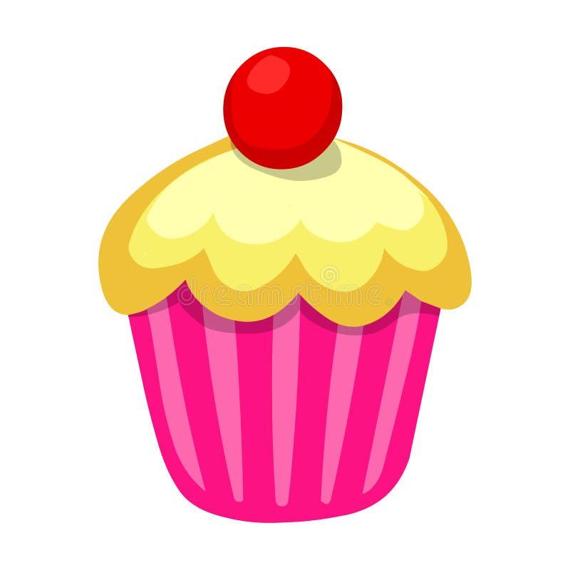 cupcake Vectorillustratie van Cupcake met kers op bovenkant royalty-vrije illustratie