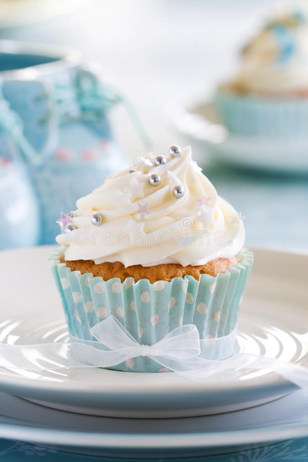 Cupcake voor een babydouche royalty-vrije stock foto