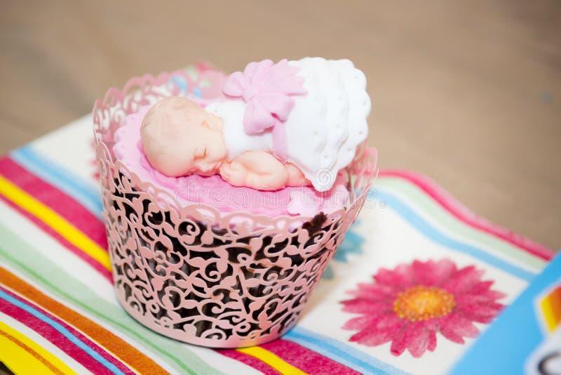 Cupcake voor een Partij van de Babydouche royalty-vrije stock afbeeldingen